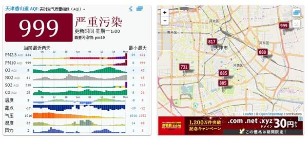 天津も重度汚染